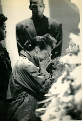 Cathy Brooks weeps at the casket of Jonny Gammage. (Associated Press)