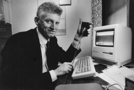 Sean Ferris, seen here in April 1988, says his gadget reduces electric bills by putting children and people in wheelchairs within reach of light switches. (John Heller/Pittsburgh Press)