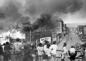 A raging lumberyard fire on North Homewood Avenue late in the afternoon of April 8, 1968, cast huge clouds of smoke over the area. This was one of several riots in the city following the assassination of the Rev. Martin Luther King Jr. Smoke from nearby fires hung in the air -- looting and burning broke out in Homewood on this day, after a weekend of riots in the city's Hill District in the wake of the murder of the Rev. King. (Post-Gazette)