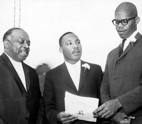 """From left, bandleader Count Basie, the Rev. Martin Luther King Jr. and Southern integration leader Obadiah Simms attend """"Freedom Jubilee"""" at Forbes Field, July 9, 1961. (Post-Gazette)"""