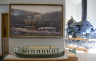 A model of one of the canal boats ,in a display case at the Portage Museum. (Darrell Sapp/Post-Gazette)