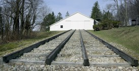 """A replica of """"Engine House #6"""" , which was the high point of the Portage Railroad. Two steam engines were used in each of the Engine Houses. Cast Iron was layed on the wood beams for the rails. (Darrell Sapp/Post-Gazette)"""