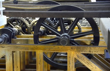 """The Gears in the replica of """"Engine House #6"""" , which was the high point of the Allegheny Portage Railroad. Two steam engines were used in each of the Engine Houses. The hemp ropes were replaced later with """"wire ropes"""" , created by John Roebling. (Darrell Sapp/Post-Gazette)"""