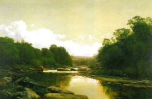 """A painting titled """"Fisherman on the Conemaugh,"""" 1887 by George Hetzel is on display at the Westmoreland County Museum of Art in Greensburg, PA."""