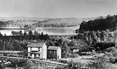 Photograph was taken from a point below the breast of the South Fork Dam whose collapse May 31, 1889, caused the historic Johnstown Flood, a catastrophe which took more than 2,000 lives. A 55-acre tract at the dam site will become a unit of the National Park System under a bill signed into law by President Johnson. The tract will be known as the Johnstown Flood National Memorial. September 20, 1964 photo. (AP Photo)