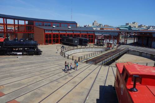 The working turntable at Steamtown's center moves engines and cars into position for display, maintenance or short journeys. (Laura Legere/Post-Gazette)