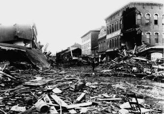 This photo released by the Johnstown Flood Museum shows the destruction along Main Street in Johnstown, Pa., following the collapse of the South Fork Dam May 31, 1889, killing 2,209 people. More than 116 years before Hurricane Katrina destroyed New Orleans, a flood in Johnstown exposed the rift between rich and poor, the kindness of strangers and, in the end, the power of the human spirit to rebuild. (AP Photo/Johnstown Flood Museum)