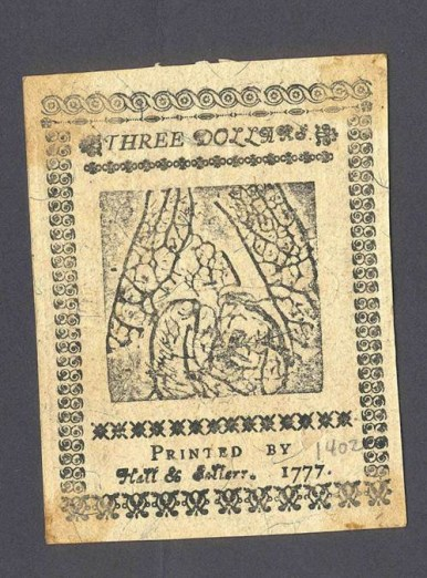 Back of a three-dollar bill in Continental Currency printed in 1777, from the John F. Reed collection, Valley Forge National Historical Park.