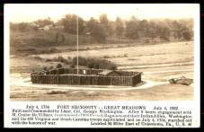 An older postcard of Fort Necessity showing the fort reconstructed as a diamond rather than as a circle as archeaologists discovered was the real case.