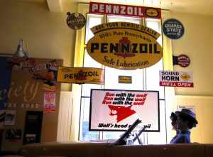 Signs for Pennsylvania oil companies at the Oil City at Venango Museum of Art, Science & Industry