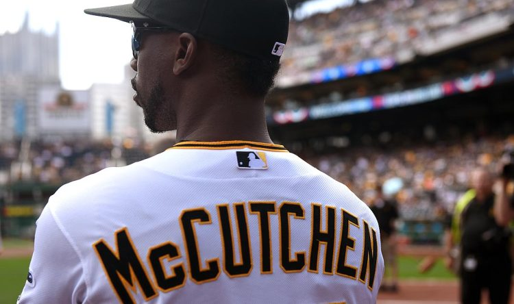 Pirate outfield Andrew McCutchen sports his new short hair during the home opener. (Steve Mellon/Post-Gazette)
