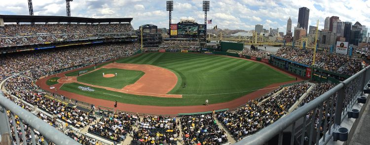 PNC Park was packed shortly before the start of the game. (Zack Tanner/Post-Gazette)