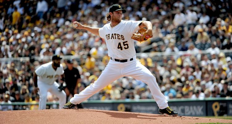 Gerrit Cole throws a pitch during the Pirates home opener against the Detroit Tigers at PNC Park. (Andrew Rush / Post-Gazette)