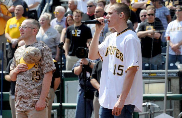 'The Voice' finalist Chris Jamison sings the National Anthem. (Matt Freed/Post-Gazette)