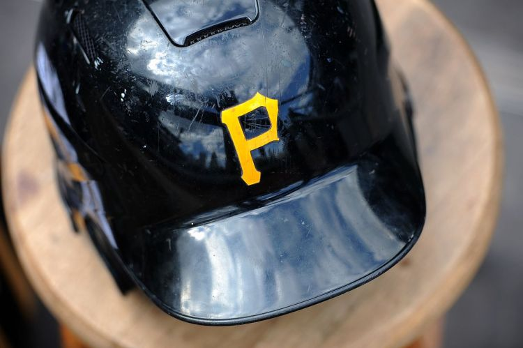 A batting helmet left in the dugout after the Pirates Opening Day game against the Detroit Tigers at PNC Park on Monday. (Rebecca Droke/Post-Gazette)