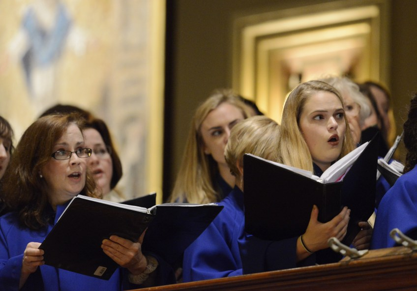 The choir rehearses before a papal Mass at Cathedral Basilica of Saints Peter and Paul on Saturday. Pope Francis arrived in Philadelphia Saturday to conclude his visit to the United States.