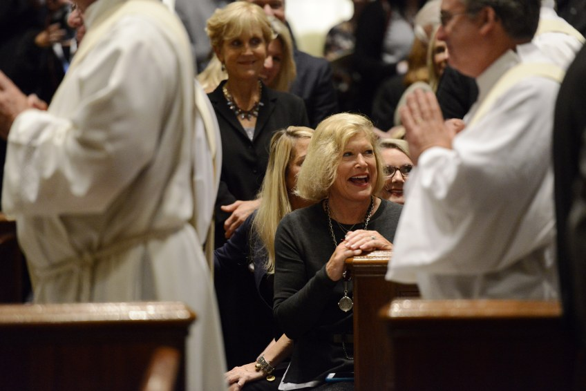 Priests process through the Cathedral Basilica of Saints Peter and Paul before a papal Mass on Saturday. Pope Francis arrived in Philadelphia Saturday to conclude his three-city, six-day visit to the United States.