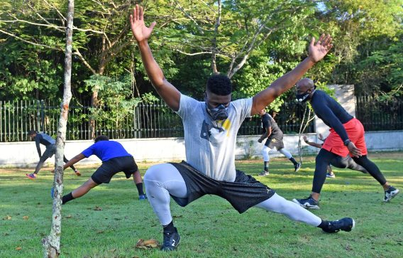 Pirates right fielder Gregory Polanco stretches during his workout at the National Botanical Garden Tuesday, December 5, 2017 in Santo Domingo, Dominican Republic. (Matt Freed/Post-Gazette)