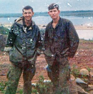 George Haught, left, of Monaca, and Clyde Carter of Oklahoma pose for a photograph in 1967 at the An Hoa Combat Base in Vietnam. Mr. Carter was killed Jan. 31, 1968 in Hue City, Vietnam.