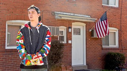 Carlynton graduate Patrick Zekler, of Neville Island, talks about his uncle's July 2, 2017, overdose death as he wears his uncle's colorful hoodie , decorated with a pattern of flags, Monday March 5, 2018 in Neville Island. (Darrell Sapp/Post-Gazette)