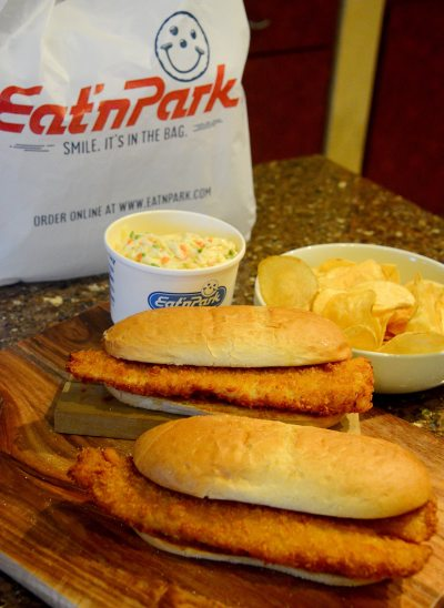 Fish Fry to Go sandwiches with potato chips and cole slaw are pictured at Eat'n Park on Friday, Feb. 9, 2018 in Homestead. (Lake Fong/Post-Gazette)