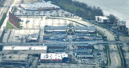 An aerial view of part of the Waterfront Complex in Homestead and West Homestead. (Darrell Sapp/Post-Gazette)