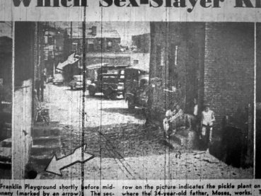 This view looking south on Sachem Way was published in the Pittsburgh Courier on July 25, 1953. The arrow at the bottom of the picture points out where the body of Julia Mae was discovered. At right is the Johnson home.