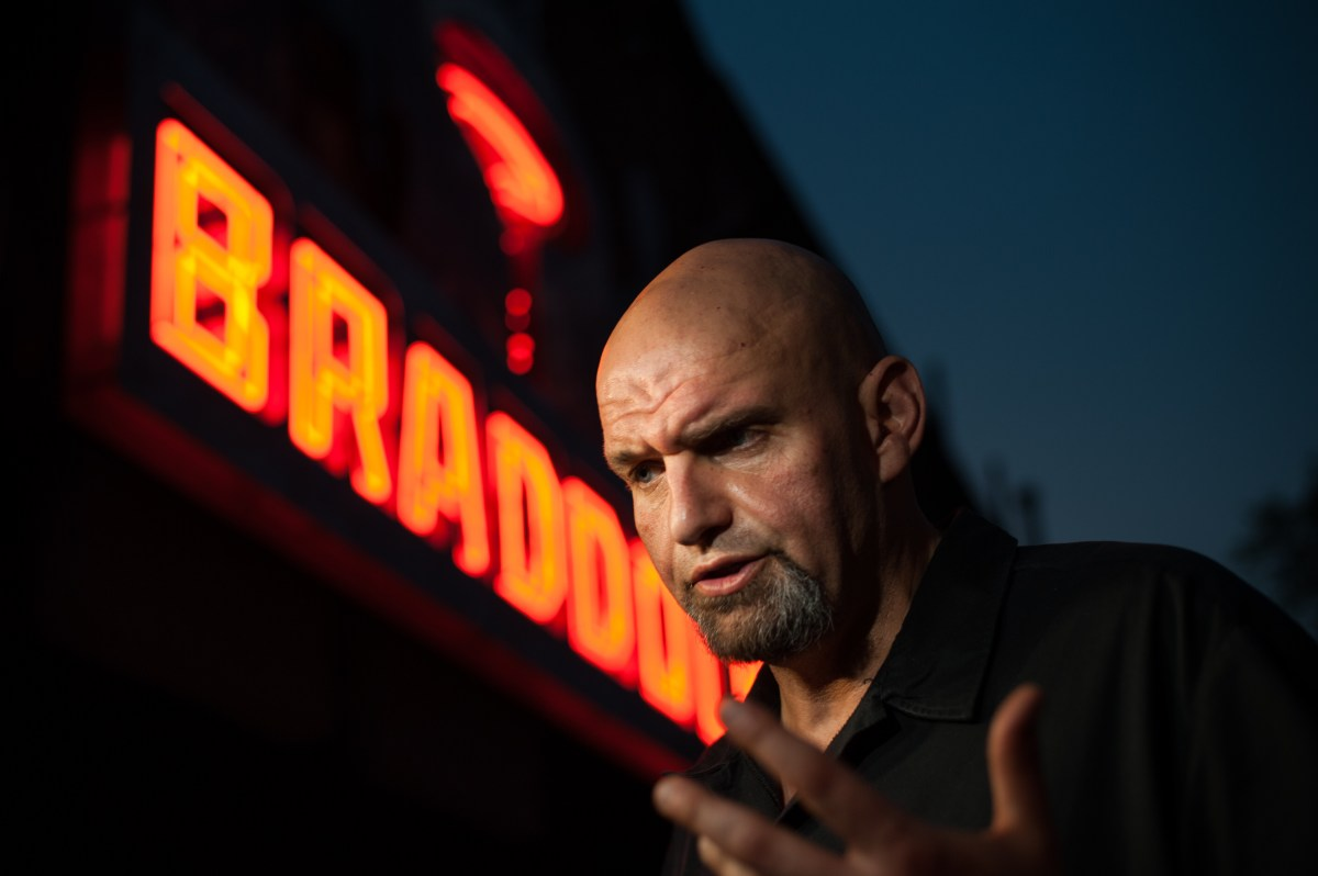 Then-Mayor of Braddock John Fetterman talks to the media outside his home and primary election watch party on Tuesday, May 15, 2018, in Braddock. Mr. Fetterman won the Democratic nomination for lieutenant governor in Pennsylvania. (Stephanie Strasburg/Post-Gazette)