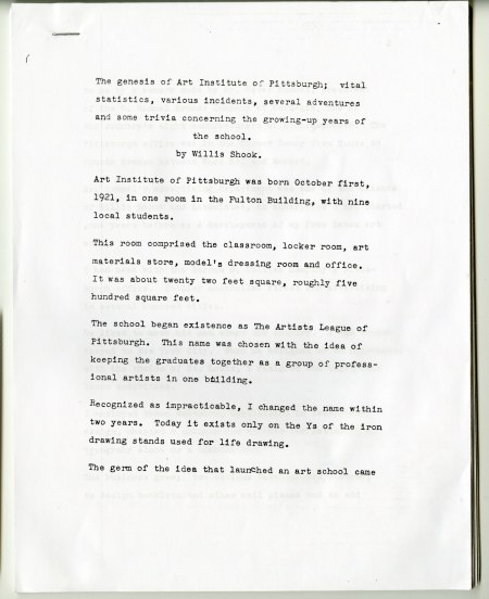 The first page of a 49-page typewritten history by the founder of the Art Institute of Pittsburgh, Willis Shook that he wrote in 1972.