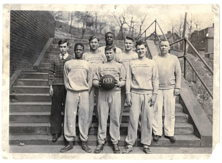 Gladstone Basketball Team, Herb Douglas Jr.,front row, left, 1937. (Courtesy of Heinz History Center)