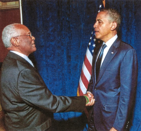 Herb Douglas Jr. meets President Barack Obama at a fundraiser in Denver, Colo. in 2012. (Courtesy of Heinz History Center)