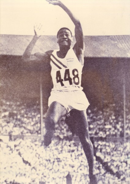 Herb Douglas Jr. competes in the long jump during the 1948 Olympics at London's Wembley Stadium. (Courtesy of Heinz History Center)