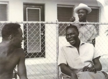 Herb Douglas, left, and Nat King Cole poolside at the Lord Calvert Hotel in Miami, Fla. during the 1950s. (Courtesy of Heinz History Center)