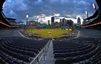 The Pirates take on the Brewers on opening day amid a sea of empty seats PNC Park, Monday, July 27, 2020, on the North Shore. (Matt Freed/Post-Gazette)