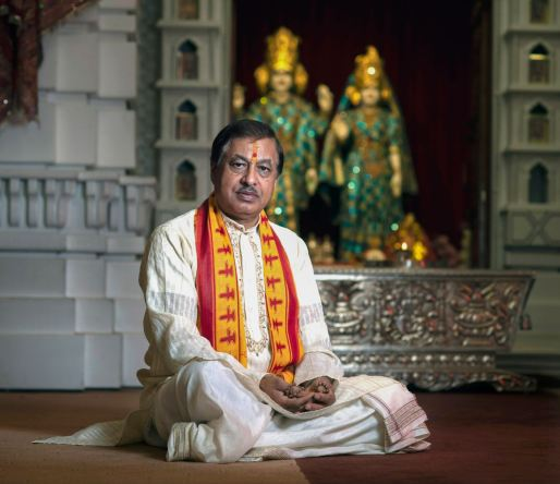 The Rev. Suresh Chandra Joshi, priest at the Hindu Jain Temple in Monroeville. (Nate Guidry/Post-Gazette)