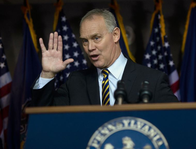 Speaker of the House Mike Turzai (R-Allegheny), who is serving his tenth term as state representative of the 28th Legislative District and third term as Speaker of the Pennsylvania House of Representatives, waves to members of the press after announcing that he is not running for reelection during a press conference at his office, Thursday, Jan. 23, 2020, in McCandless. (Pam Panchak/Post-Gazette)