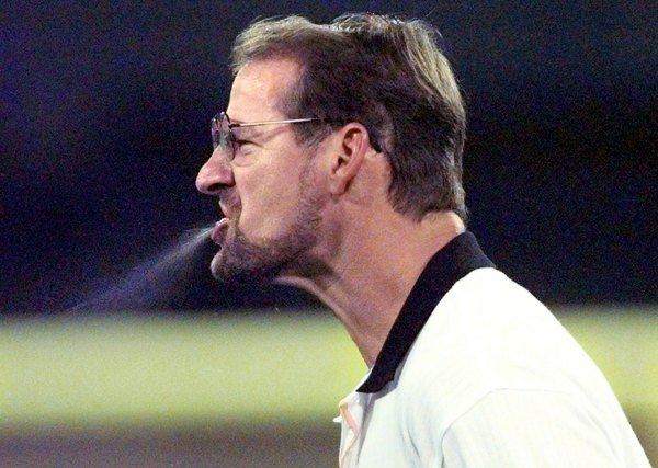 Bill Cowher vents his displeasure with a penalty called on lineman Orpheus Roye