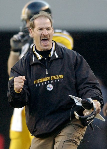 Bill Cowher celebrates after a 52-yard punt return for TD by Antwaan Randle El