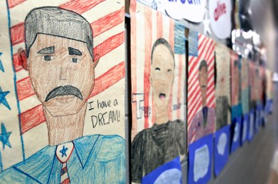 Students depictions of Reverend King outside of Ms. Pamela Jackson's 5th grade classroom at King Academy for Boys in 2015. The Blade / Amy E. Voigt