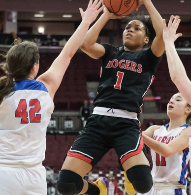 Rogers' Zia Cooke (1) shoots against Dayton Carroll's Julia Keller (42) during a girls Division II State Championship basketball game Saturday, March 16, 2019, at the Jerome Schottenstein Center in Columbus, Ohio. THE BLADE/JEREMY WADSWORTH SPT D2stateGBK17
