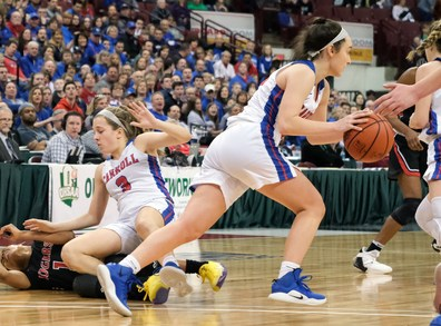 Rogers' Zia Cooke (1) collides with Dayton Carroll's Sarah Ochs (3) as Dayton's Allie Stefanek (24) takes off with the ball during a girls Division II State Championship basketball game Saturday, March 16, 2019, at the Jerome Schottenstein Center in Columbus, Ohio. Rogers defeated Carroll, 56-45.THE BLADE/JEREMY WADSWORTH SPT D2stateGBK17