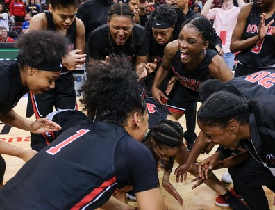 Rogers' players celebrate winning the girls Division II State Championship after defeating Dayton Carroll, 56-45, Saturday, March 16, 2019, at the Jerome Schottenstein Center in Columbus, Ohio.THE BLADE/JEREMY WADSWORTH SPT D2stateGBK17