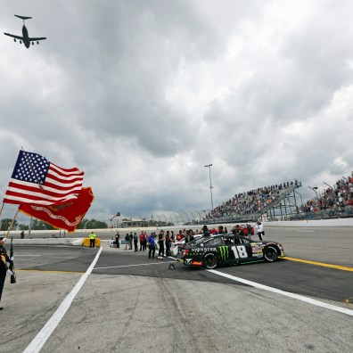 A pre-race flyover by a C-17 Globemaster III from Wright-Patterson Air Force Base in Dayton. Chandler Smith wins the rain-shortened ARCA Menards Racing Series Sioux Chief PowerPEX 200 presented by Federated Car Care at Toledo Speedway in Toledo, Ohio on May 19, 2019. The Blade/Jetta Fraser