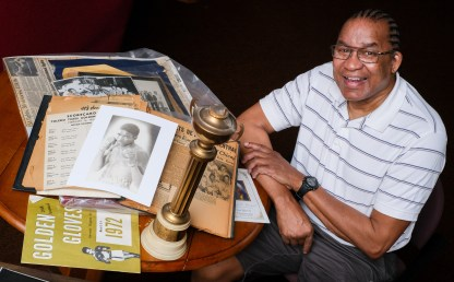 """Larry William Moreland's father Larry Moreland is being inducted into the Sports Hall of Fame at the African American Legacy Project Wednesday, June 19, 2019, in Toledo, Ohio. The elder Mr. Moreland has been described as the """"father of modern boxing in Toledo"""" and his son has donated his father's boxing memorabilia to the Legacy Project. THE BLADE/JEREMY WADSWORTH"""