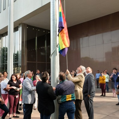 Toledo leaders highlight the city's commitment to inclusivity in front of One Government Center by raising the Pride Flag in honor of LGBTQ+ Pride Month, on June 12, 2019. The flag will fly in front of One Government Center in place of the city flag through the end of June. The Blade/Jetta Fraser
