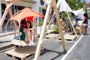 Local parking spaces were turned into reading and lounging areas, mini-golf courses and other novel curbside entertainment zones.