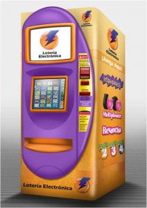 The terminals, brightly painted orange and purple, sell tickets for all electronic games including Loto and Revancha; Pega 2, 3 and 4; and scratch-off cards for 24 instant games.