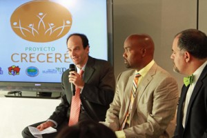 From left: Felipe Arbeláez, medical director for Merck, Carlos Delgado and Mike Soto-Class.
