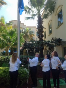"Four Points by Sheraton Caguas raise the flag announcing its ""Green Key Eco Label Award"" certification."