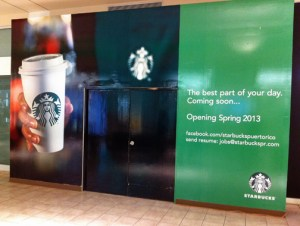 The Starbucks sign is already up, signaling the arrival of the popular coffee shop to Plaza Las Américas. (Credit: © Mauricio Pascual)